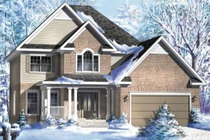 European Style House Plan - 4 Beds 3.5 Baths 2121 Sq/Ft Plan #25-4180 Exterior - Front Elevation