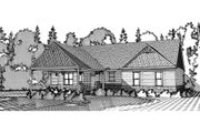 Craftsman Style House Plan - 4 Beds 3 Baths 3373 Sq/Ft Plan #63-372 Exterior - Rear Elevation