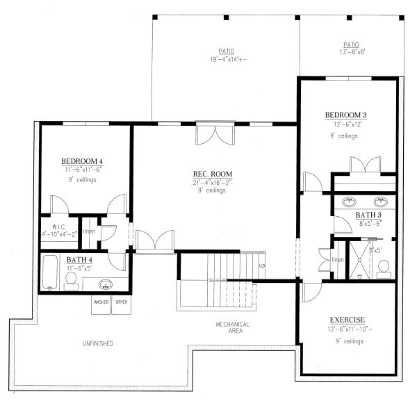 Craftsman Floor Plan - Lower Floor Plan Plan #437-114