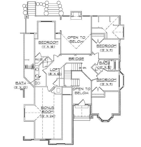 House Plan Design - European Floor Plan - Upper Floor Plan #5-391