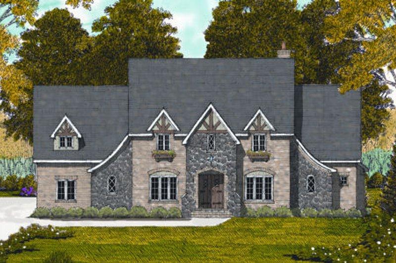 Tudor Exterior - Front Elevation Plan #413-811
