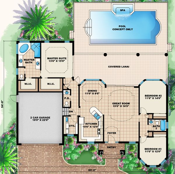 Mediterranean Floor Plan - Main Floor Plan #27-435