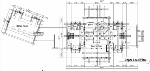 Log Floor Plan - Upper Floor Plan #451-3