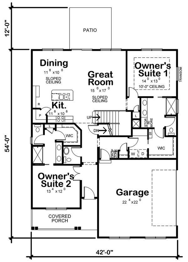 Dream House Plan - Farmhouse Floor Plan - Main Floor Plan #20-2411