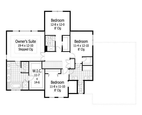 Craftsman Style House Plan - 4 Beds 3.5 Baths 3162 Sq/Ft Plan #51-449 Floor Plan - Upper Floor Plan