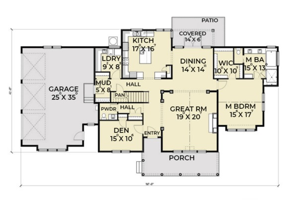 Southern Floor Plan - Main Floor Plan Plan #1070-12