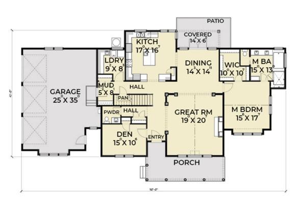 Southern Floor Plan - Main Floor Plan Plan #1070-12
