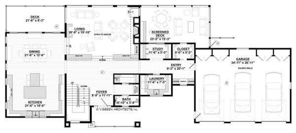 Contemporary Floor Plan - Main Floor Plan Plan #928-315