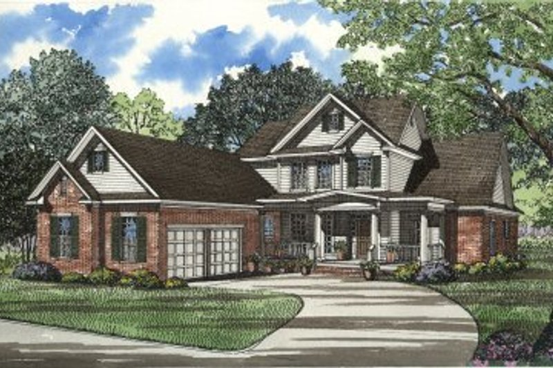 Traditional Style House Plan - 4 Beds 3 Baths 3206 Sq/Ft Plan #17-291 Exterior - Front Elevation
