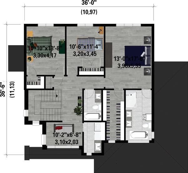 Architectural House Design - Contemporary Floor Plan - Upper Floor Plan #25-4884