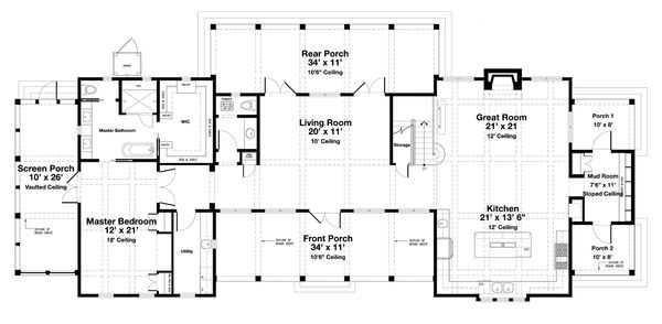 Beach Style House Plan - 4 Beds 4.5 Baths 3000 Sq/Ft Plan #443-19 Floor Plan - Main Floor Plan
