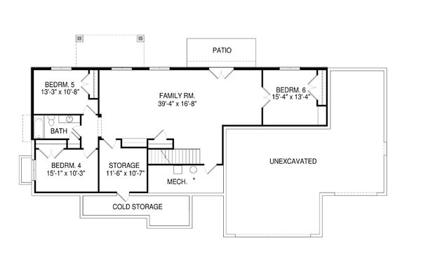 Craftsman Floor Plan - Lower Floor Plan Plan #920-32