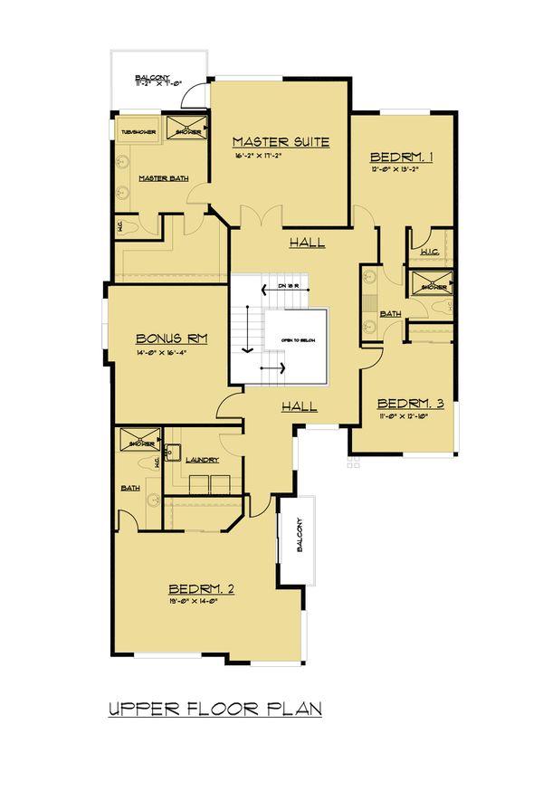 European Floor Plan - Upper Floor Plan Plan #1066-65
