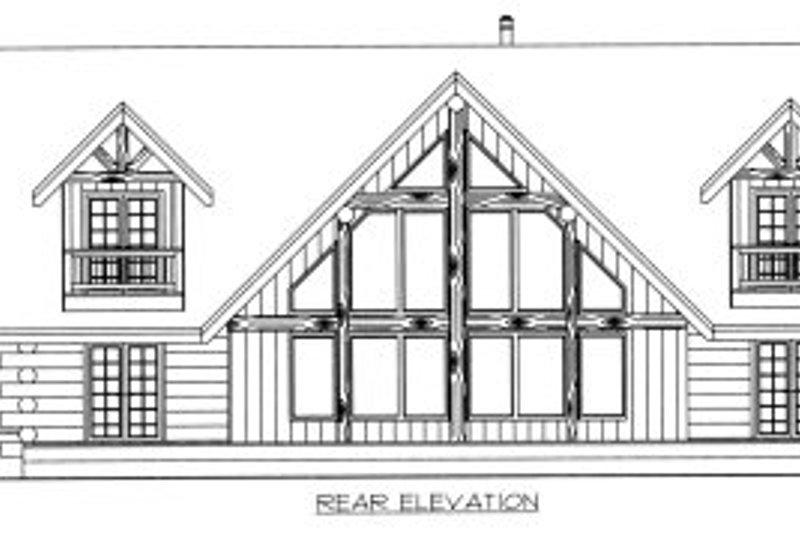 Log Exterior - Rear Elevation Plan #117-410 - Houseplans.com