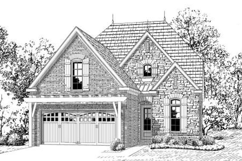 European Style House Plan - 4 Beds 3 Baths 2008 Sq/Ft Plan #424-136 Exterior - Front Elevation
