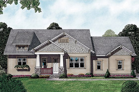 Craftsman Exterior - Front Elevation Plan #453-12