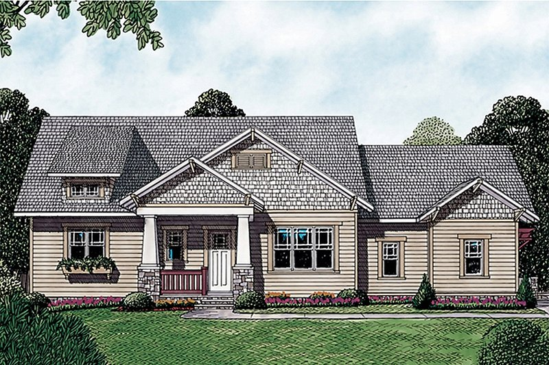 Craftsman Exterior - Front Elevation Plan #453-12