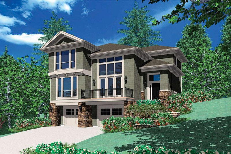 Home Plan - Contemporary Exterior - Front Elevation Plan #48-156
