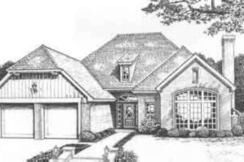 European Style House Plan - 2 Beds 2 Baths 2202 Sq/Ft Plan #310-484 Exterior - Front Elevation