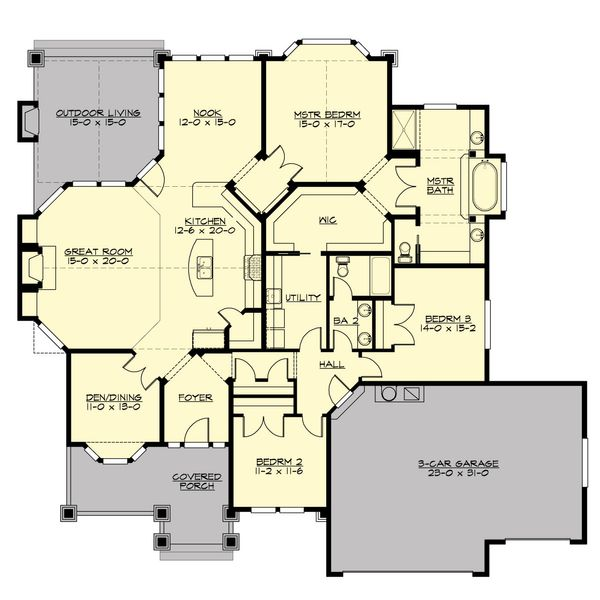 Craftsman Floor Plan - Main Floor Plan #132-231