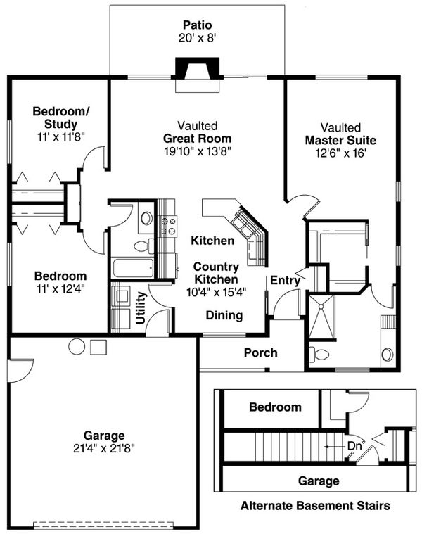 Ranch Floor Plan - Main Floor Plan Plan #124-373