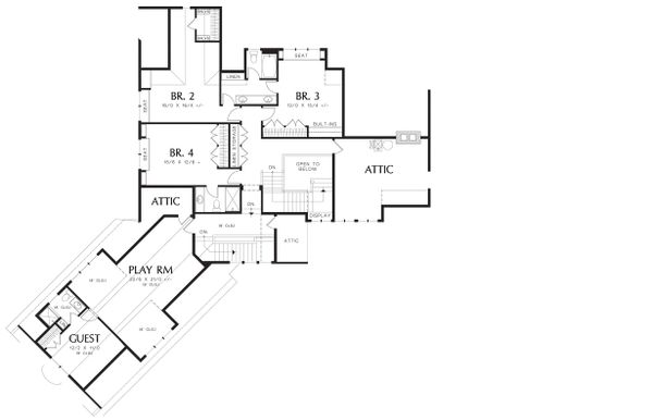 Upper Level Floor Plan - 5200 square foot Craftsman Home