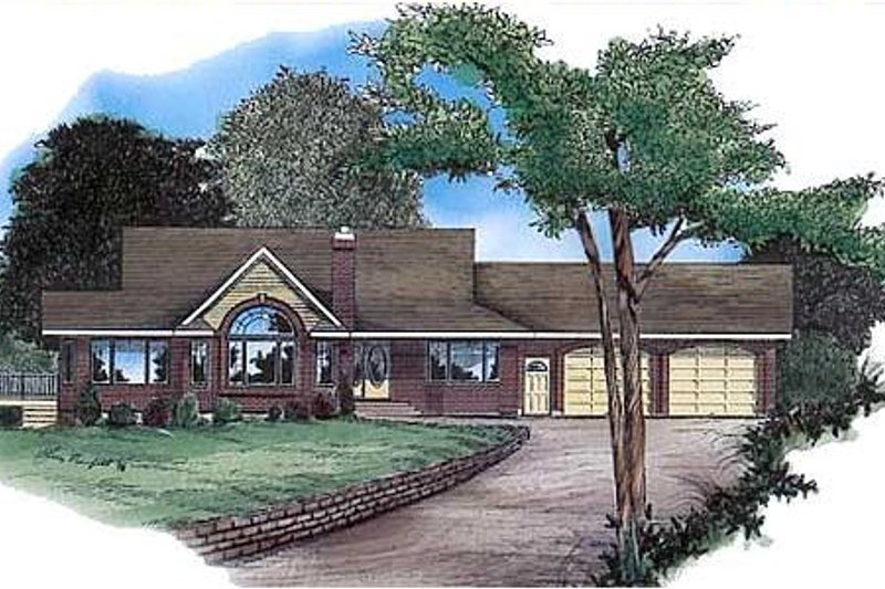 Traditional Style House Plan - 3 Beds 2 Baths 1844 Sq/Ft Plan #409-1116 Exterior - Front Elevation