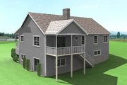 Country Style House Plan - 2 Beds 2 Baths 1493 Sq/Ft Plan #75-116 Exterior - Rear Elevation