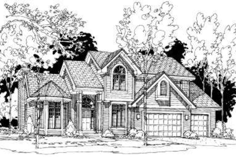 Traditional Style House Plan - 4 Beds 3.5 Baths 2979 Sq/Ft Plan #334-112 Exterior - Front Elevation
