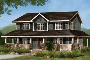 House Plan Design - Country Exterior - Front Elevation Plan #427-3