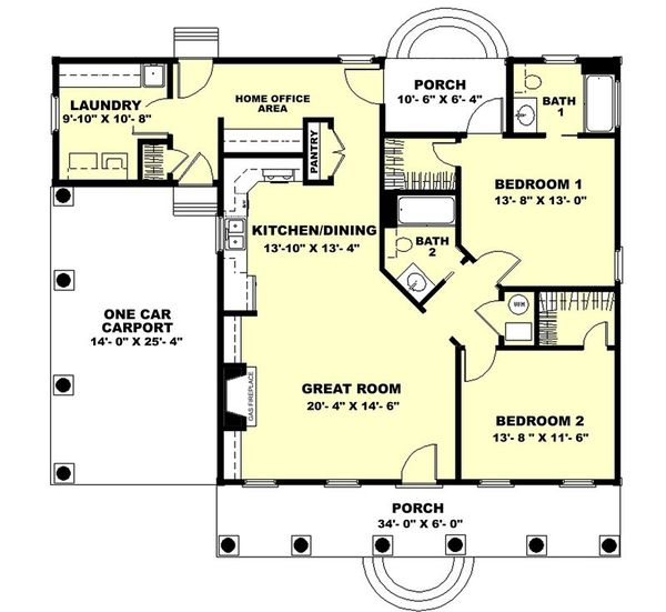 Country Floor Plan - Main Floor Plan Plan #44-160