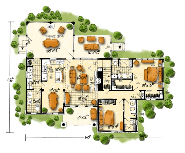 House Plan Design - Cottage Floor Plan - Main Floor Plan #942-39