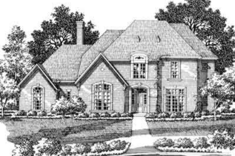 European Style House Plan - 5 Beds 4.5 Baths 4478 Sq/Ft Plan #141-115 Exterior - Front Elevation