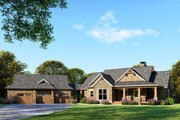 Craftsman Style House Plan - 4 Beds 5 Baths 3734 Sq/Ft Plan #17-2595 Exterior - Front Elevation