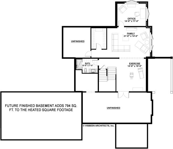 Farmhouse Floor Plan - Lower Floor Plan Plan #928-324