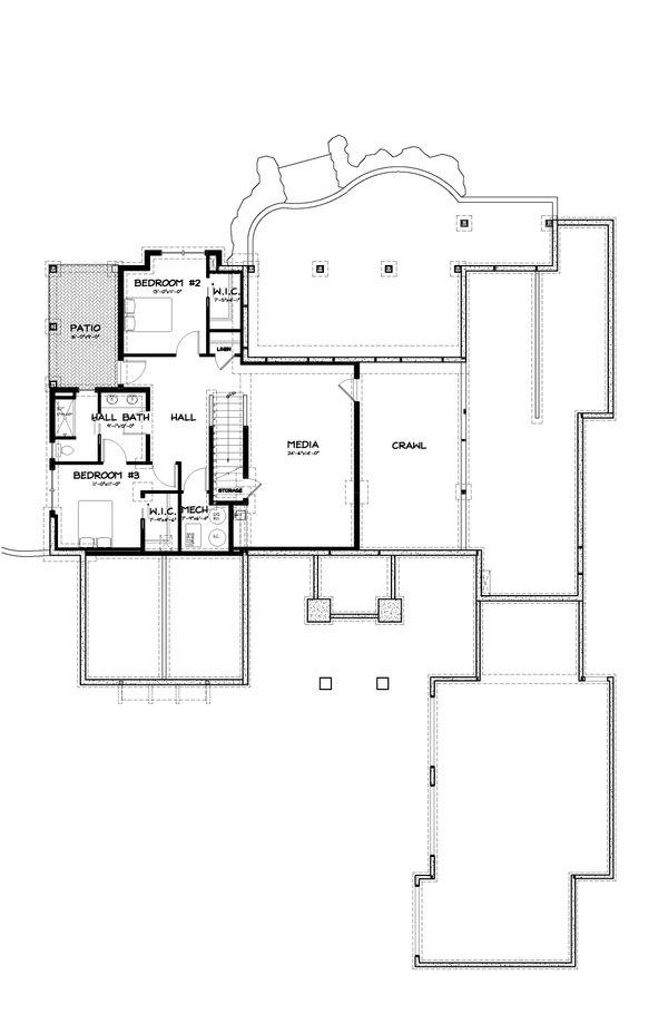 Craftsman Style House Plan - 3 Beds 2.5 Baths 3901 Sq/Ft Plan #895-11 Floor Plan - Lower Floor Plan