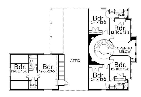 Classical Floor Plan - Upper Floor Plan Plan #119-253