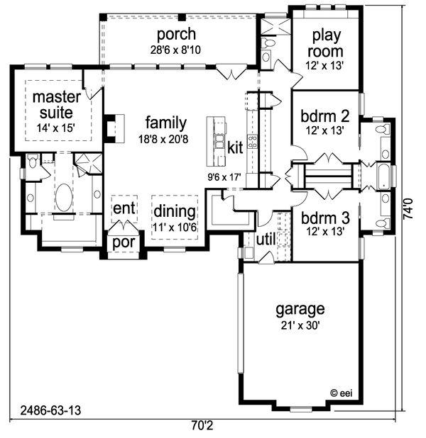Traditional Floor Plan - Main Floor Plan Plan #84-623
