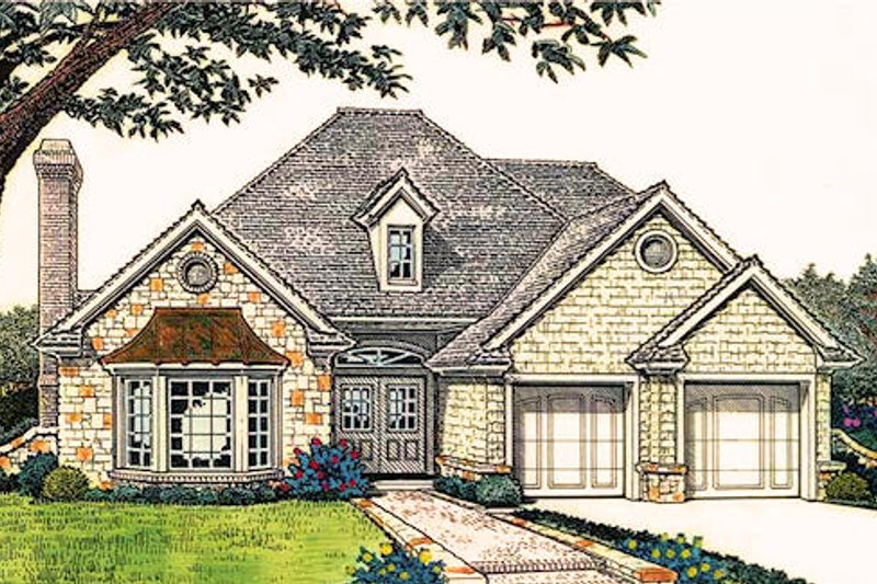 European Exterior - Front Elevation Plan #310-415
