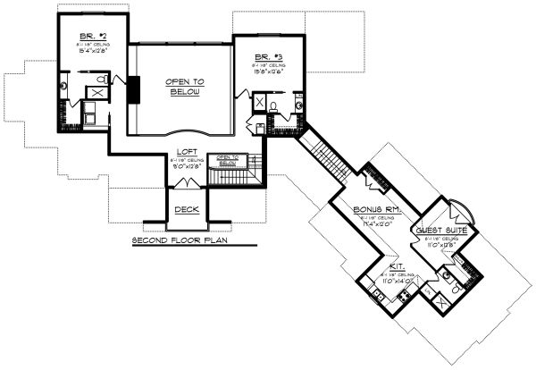 Craftsman Floor Plan - Upper Floor Plan Plan #70-1288