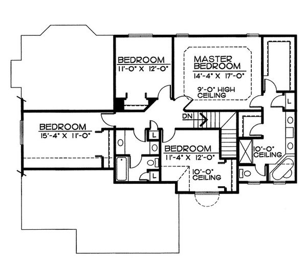 Traditional Floor Plan - Upper Floor Plan Plan #20-2055