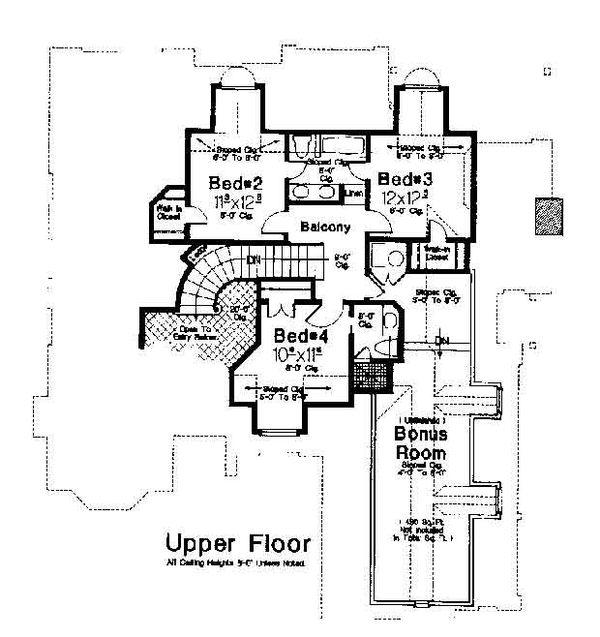 Colonial Floor Plan - Upper Floor Plan #310-722