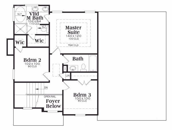Craftsman Floor Plan - Upper Floor Plan Plan #419-122