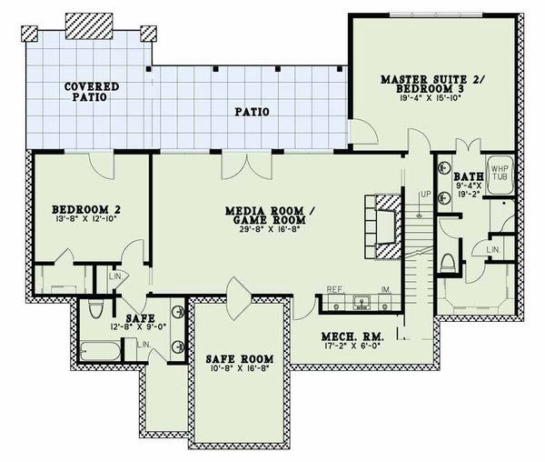 Craftsman Floor Plan - Lower Floor Plan Plan #17-2595