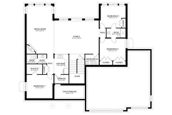 Traditional Floor Plan - Lower Floor Plan #1060-69