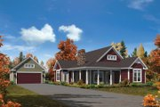 Cottage Style House Plan - 3 Beds 2 Baths 1582 Sq/Ft Plan #57-618 Exterior - Front Elevation