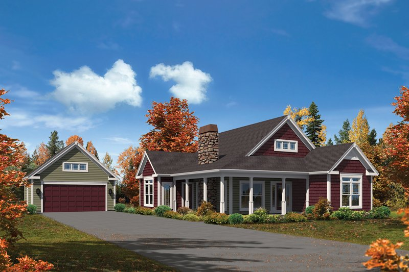Cottage Exterior - Front Elevation Plan #57-618