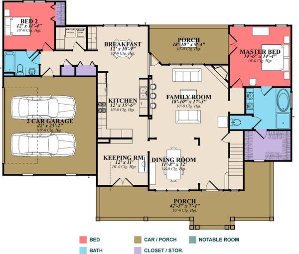 Country Floor Plan - Main Floor Plan #63-270