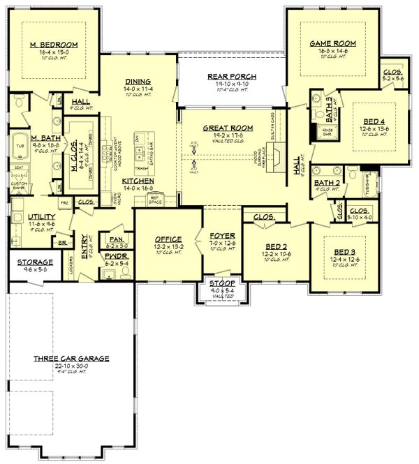 House Design - Ranch Floor Plan - Main Floor Plan #430-186