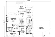 Craftsman Style House Plan - 4 Beds 3 Baths 3198 Sq/Ft Plan #51-500 Floor Plan - Main Floor